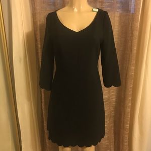 Kate spade scallop hem crepe black dress